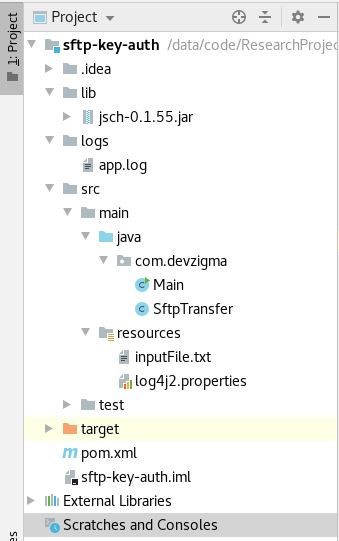 project structure for sftp with ssh keys using java into ec2 instance