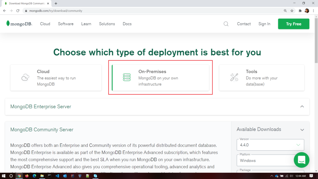 choose on-premises option to download to windows