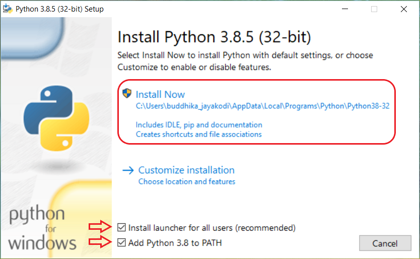 install python with path added to windows