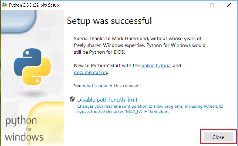 installation is completed on windows 10