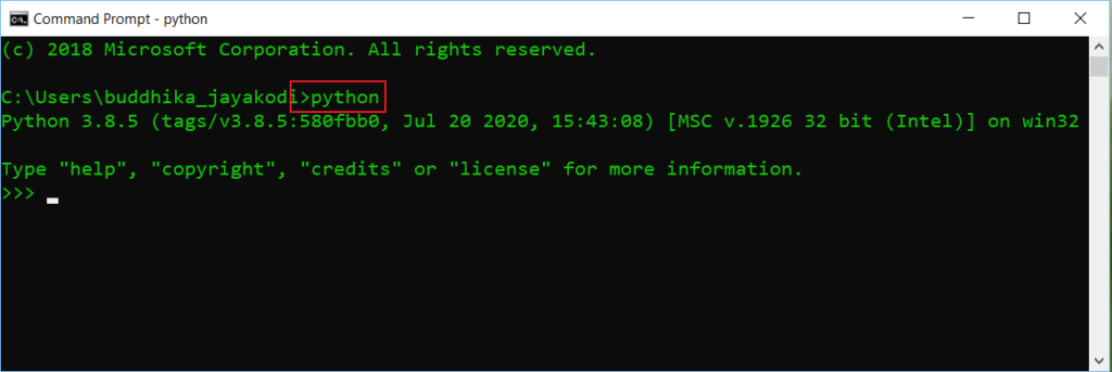 interactive prompt of python using windows command line