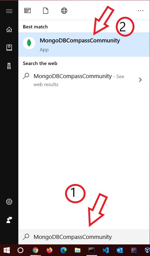 search mongodb compass in windows